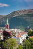 The buildings and landmarks of the port city of Bergen, Norway, Europe.