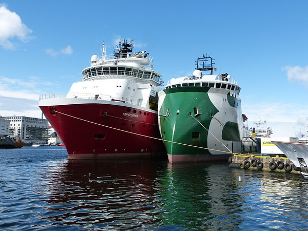 City of Bergen, Norway, August 08, 2012 Offshore support vessels. The BOURBON ORCA was the first vessel to be constructed with an Ulstein X-bow.