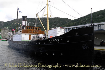 City of Bergen, Norway, August 08, 2012 Historic preserved steamship STORD I in Bergen. The ship operated on the Bergen to Stavanger passenger service.