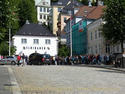 City of Bergen, Norway, August 08, 2012 Queues for the Floibanan Funicular Railway