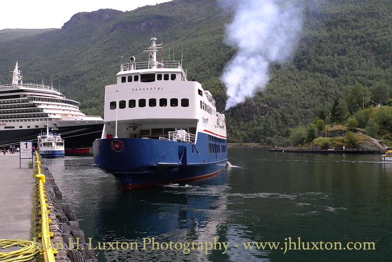 Fjord 1's  SKAGASTOL departing Flåm for Gudvangen  -  August 06, 2012