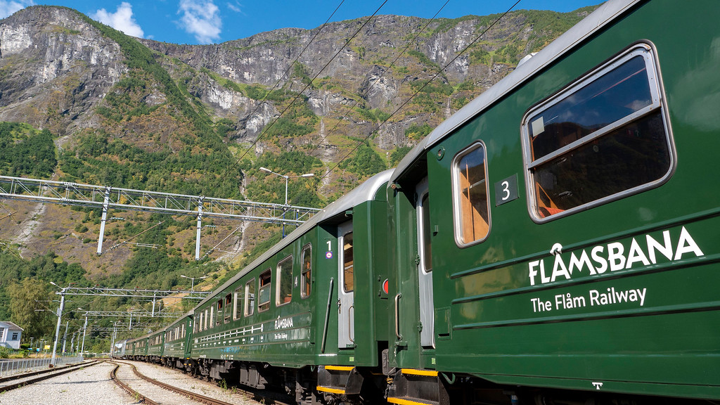 The Flam Railway train at Flam Station - Train trips in Norway