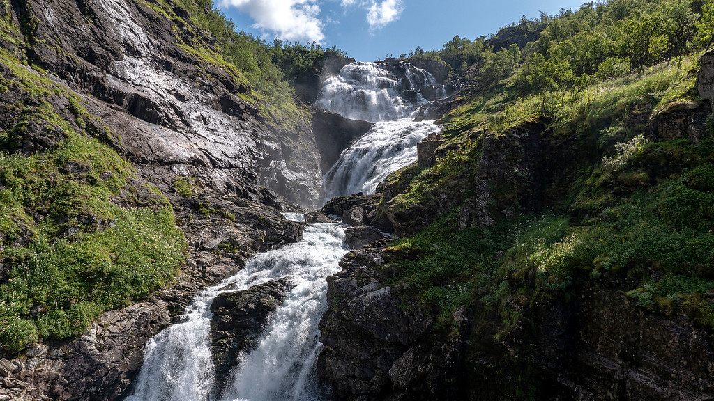 Kjosfossen - Waterfall in Norway - Flam Railway waterfall
