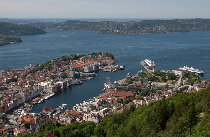 Bergen from Floien, 4 June 2008 2      A closer look at the old town.  The fish market is at bottom left, with Bryggen, Statsraad Lehmkuhl and Bergen Castle to the right.  The two cruise ships at right are Thomson Celebration and Marco Polo (right).