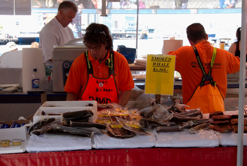 Whalemeat for sale, Bergen fish market, 4 June 2008