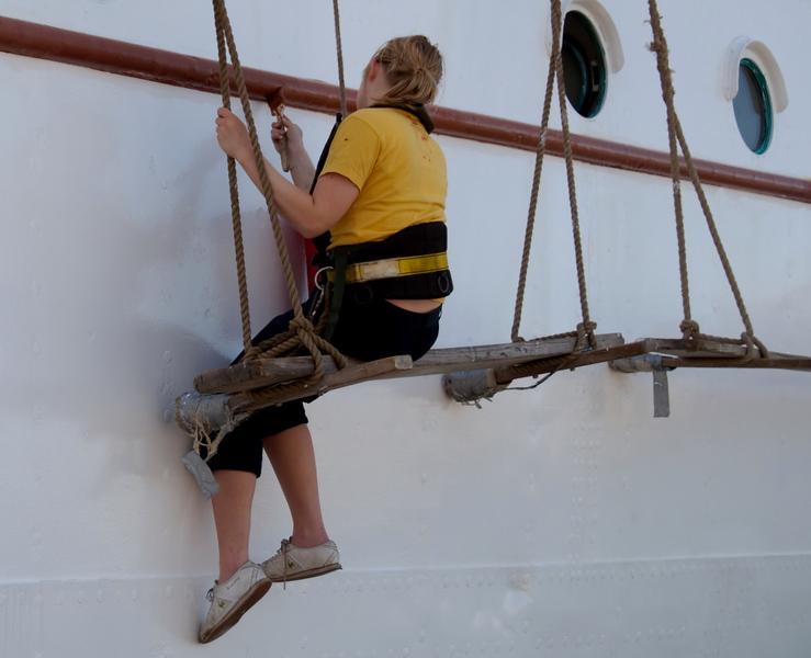 Statsraad Lehmkuhl, Bergen, 4 June 2008 3    A trainee paints ship.