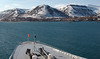 Queen Elizabeth 2, Longyearbyen (Spitzbergen), 8 June 2008   QE2 lies at anchor off Spitzbergen's capital.