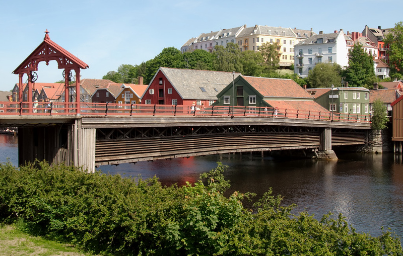 Old town bridge (Gamle Bybro), Trondheim, 5 June 2008 1    The bridge was built in 1861, and replaced an older structure.  It spans the River Nid.
