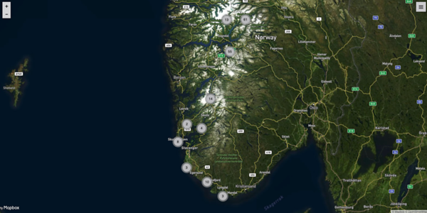 Map of photo locations South Norway