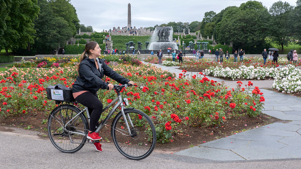 Holland America Norway Cruise: Bike riding in Vigeland Sculpture Park in Oslo -  Norwegian Fjords Cruise