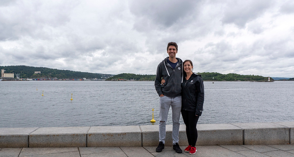 The two of us at Tjuvholmen in Oslo Norway
