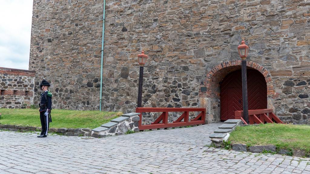 Guard standing at Akershus Fortress in Oslo, Norway near the Oslo cruise port