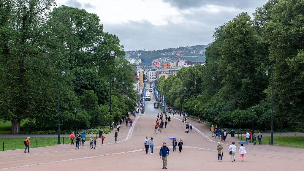 Views of Karl Johans gate from the Royal Palace in Oslo Norway