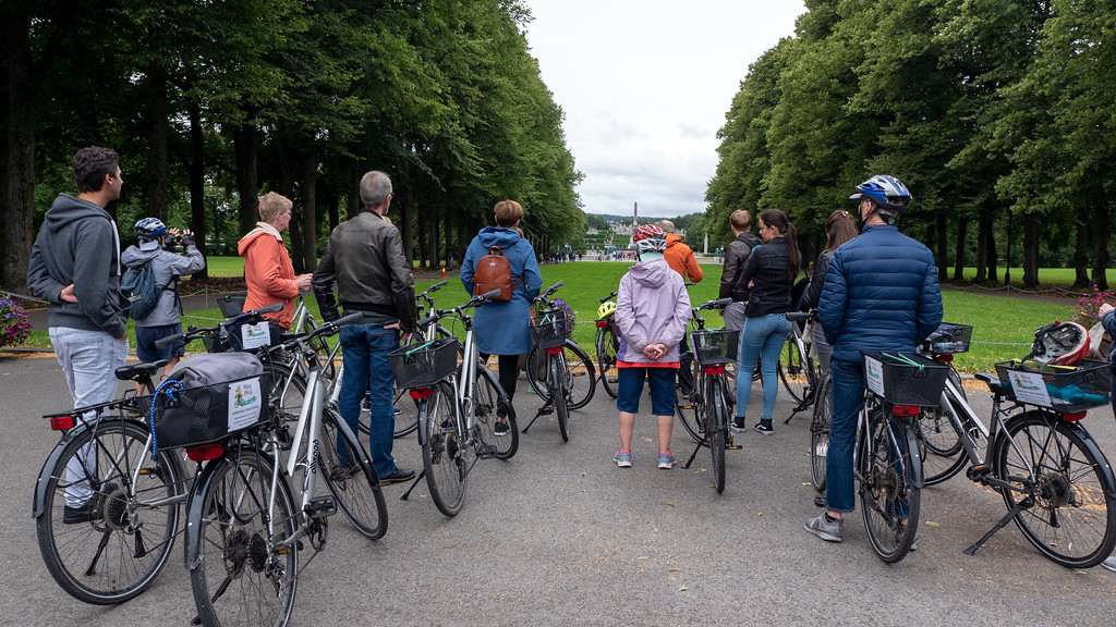 Bike tour in Oslo Norway - at Frogner Park to see Vigeland's sculptures