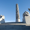 """""""The Monolith"""" surrounded by 36 sculptures at Vigeland Sculpture Park"""