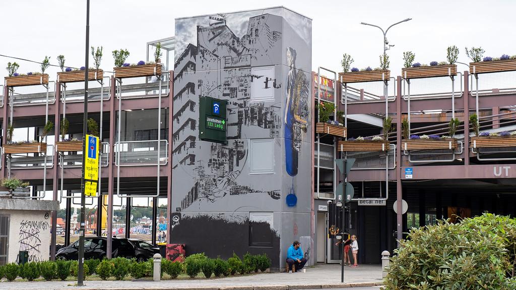 Street art and murals in Stavanger Norway on parking garage