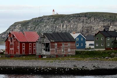 Vardø Lighthouse, Hornøya island. Vardø Havn, Vardø, Troms og Finnmark, Norway