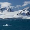 Lilliehöökbreen glacier viewed from Krossfjorden.  The North Pole 600 miles away.  Spitsbergen Island, a part of the Svalbard Archipelago, Arctic Norway.