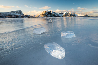 Ice on the frozen Haukland beach