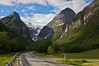 Oldedalen Valley surrounded by Jostedalsbreen National Park Norway.