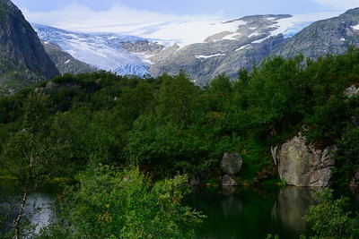 The Blue Lake behind Jordalsnuten, and the Folgefonna glacier