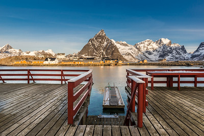 Sakrisoy, Lofoten, Norway at sunrise, view from the wooden pier