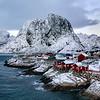 Hamnoy Red Cottages Winter Dusk