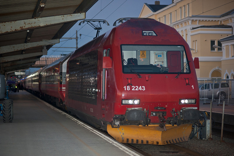 NSB El18 2243 sits at the head of the overnight service from Trondheim to Oslo on 12 August 2012