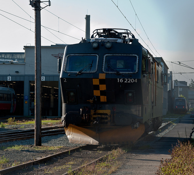Outside the depot at Marienborg on 13 August 2012 is CargoNet El16.2204