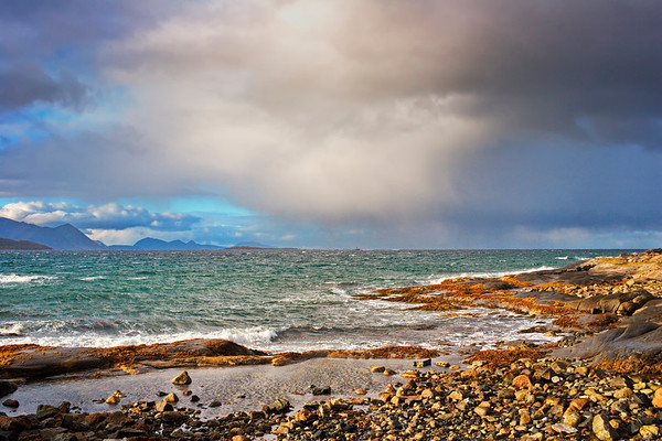 Stormy coast in northern Norway