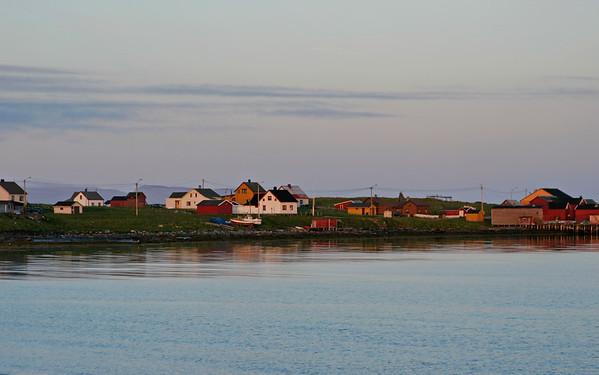 Midnight sun illuminating the village Ekkerøy