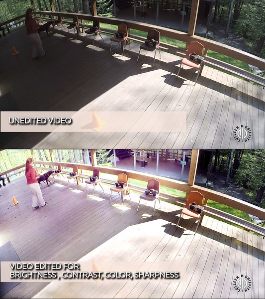 Direct comparison showing the difference between unedited video and video that's been edited for brightness, color, contrast, and sharpness