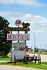 A 1950's western theme style Motel sign still stands along the Lincoln National Highway in Lexington, Nebraska.