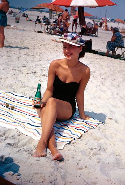 Norma and 7Up. Jones Beach on Long Island, 1953.