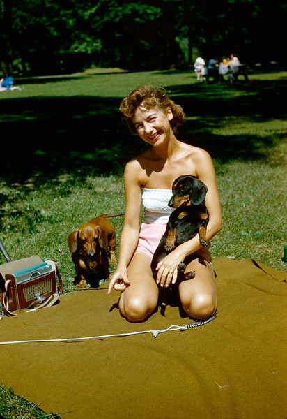 Norma with Duchess and Archie, 1956.