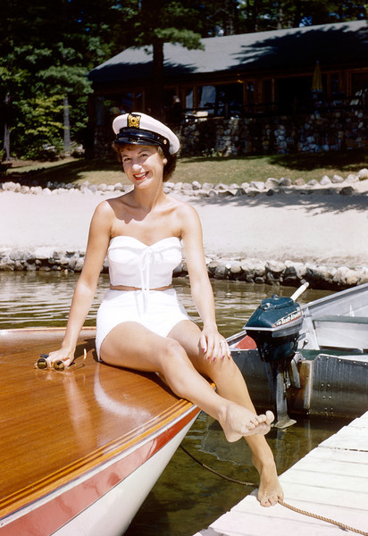 1958, Norma on a vintage boat at Loon Lake, New York.
