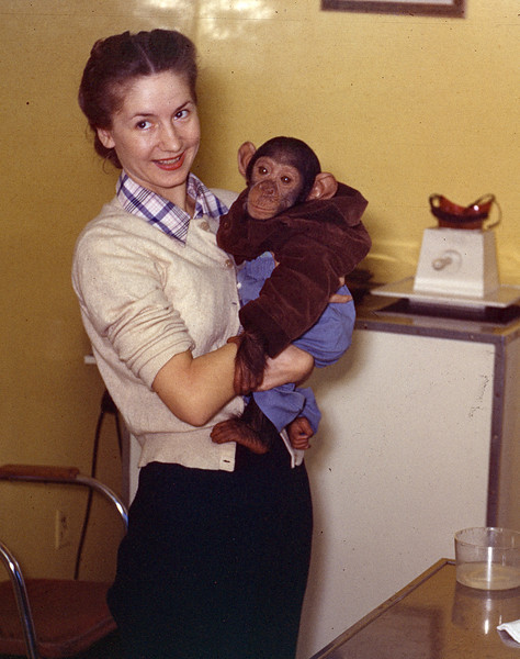 Mom and pet monkey