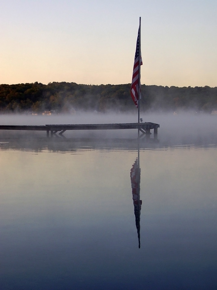 Early morning mist on Lake Wangumbaug, Coventry, Connecticut