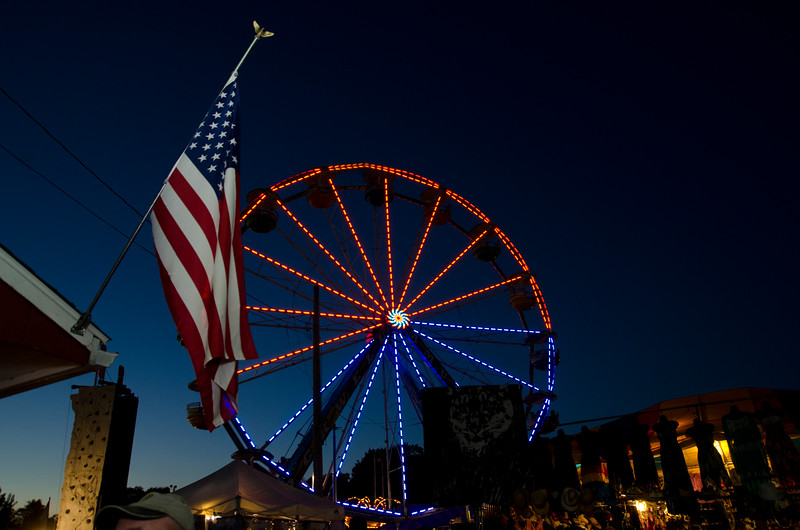 Ferris Wheel with American flag