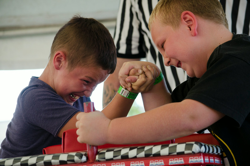 Arm-wrestling contest.