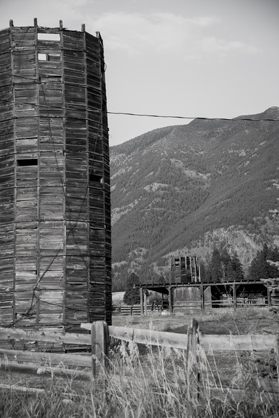 Wooden barn silo near Columbia Falls, west of Glacier National Park