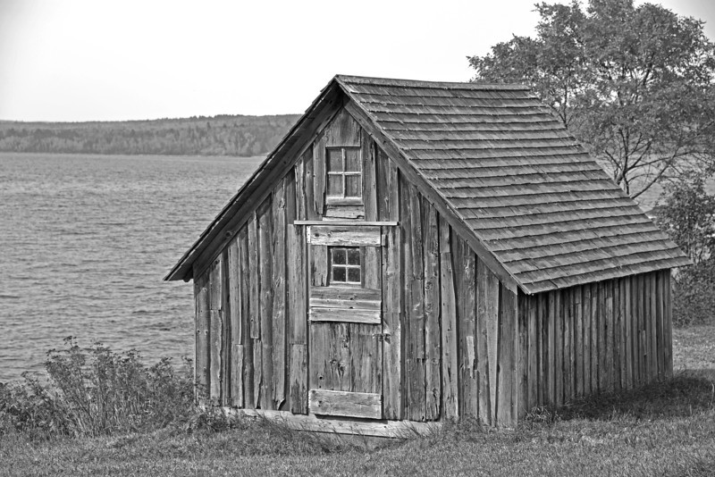Old commercial fishermans shack along Lake Superior near Stony Point.