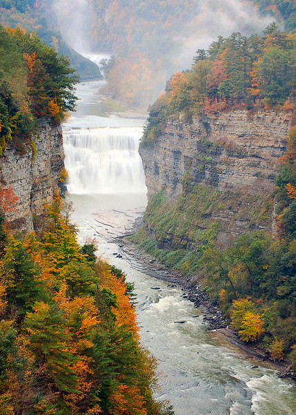 """100710<br /> Inspiration Point at Letchworth State Park<br /> <br /> I will be leaving on my fall trip thru central Pennsylvania and the Finger Lakes Region of New York tomorrow. I took this photograph last fall on my trip before joining Smug Mug.It was my favorite picture from Letchworth. The mist gave it a real """"Mystical"""" look."""