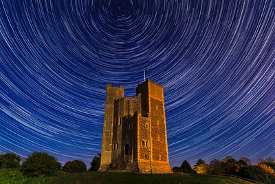 Orford Castle under a star trail