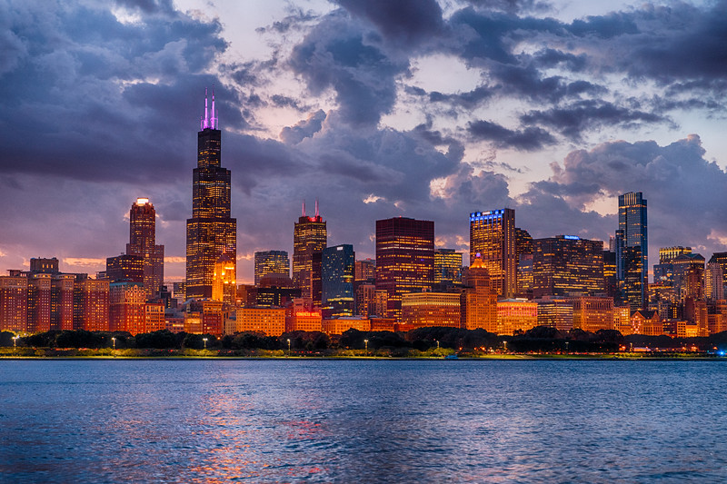City lights of Chicago