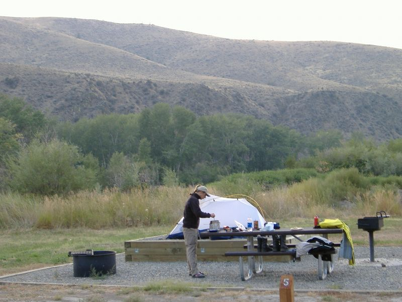 Campsite at Tower Rock State Park, Idaho.  A few feet from the Salmon River.  Lewis & Clark apparently camped near here.  A group of campers were in period garb and even had 2 large wooden canoes.