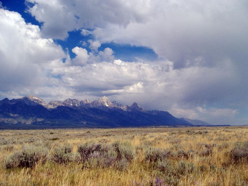Southern Grand Teton National Park, Wyoming.<br /> Taken from Highway 191.