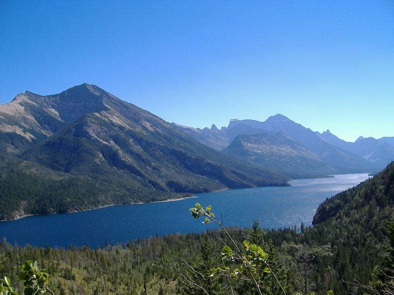 Waterton Lake, as viewed from Bertha Lake Trail, Waterton Lakes National Park, Alberta.