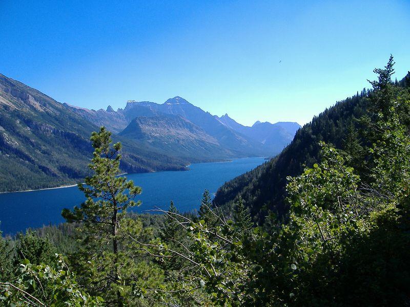 Waterton Lake, viewed from Bertha Lake Trail, Waterton Lakes National Park, Alberta.
