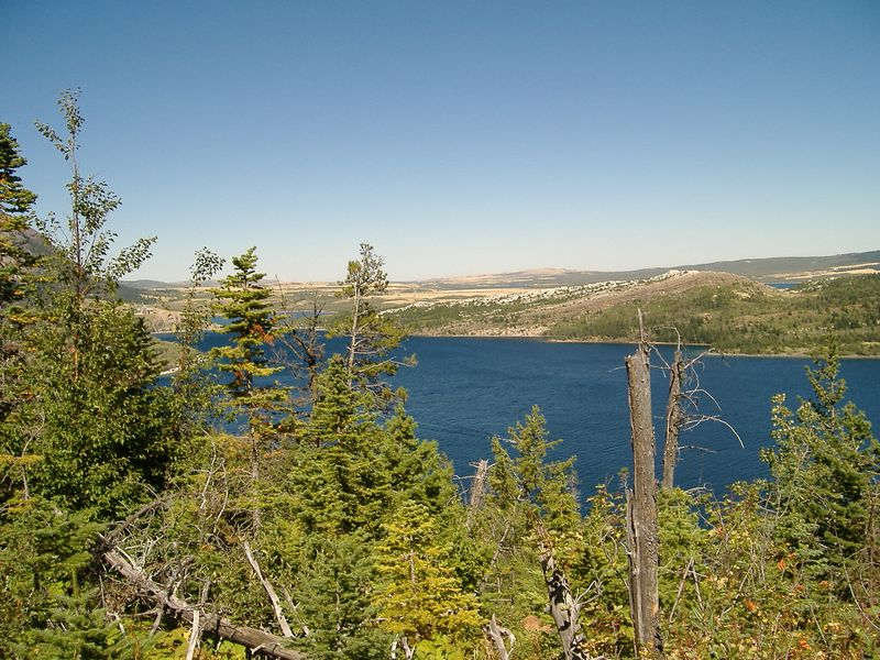 Waterton Lake and the plains of Alberta; looking north from Bertha Lake Trail, Waterton Lakes National Park, Alberta.